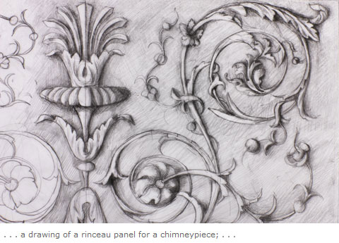 . . . a drawing of a rinceau panel for a chimneypiece; . . .