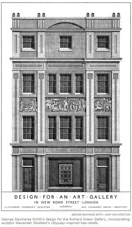 George Saumarez Smith's design for the Richard Green Gallery, incorporating sculptor Alexander Stoddart's Odyssey-inspired bas-reliefs