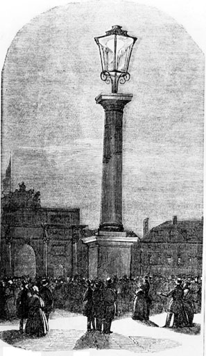 Applied science: Paris's first gas lamp, at the Place du Carrousel (1818)