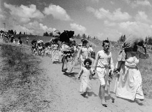 Palestinian refugees flee the 1948 Arab-Israeli war.