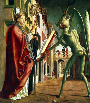 The devil presents Saint Augustine with the Book of Vices.