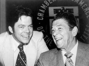 Art Laffer, the guru of supply-side economics, with Ronald Reagan