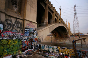 Some call it art: the 4th Street Bridge in Los Angeles, a city-designated monument defaced by graffiti.
