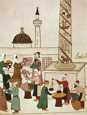 A sixteenth-century Turkish bazaar. Muslim tradition has long accepted the marketplace, though sharia constrained its efficiency.