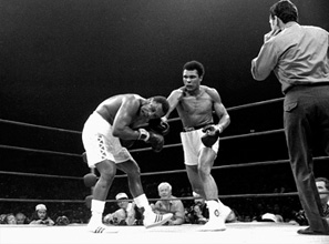 Exiled from boxing for years for his stance on the Vietnam War, Muhammad Ali, here defeating Joe Frazier in 1974, personified an era of rebellion and change.