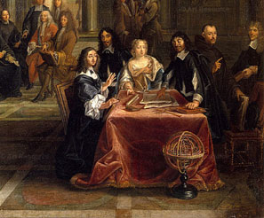 Descartes gives a lecture on geometry to the queen in a detail from Queen Christina of Sweden and Her Court, by Louis Michel Dumesnil.