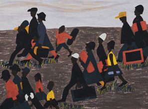 A panel from Jacob Lawrence's series The Migration of the Negro
