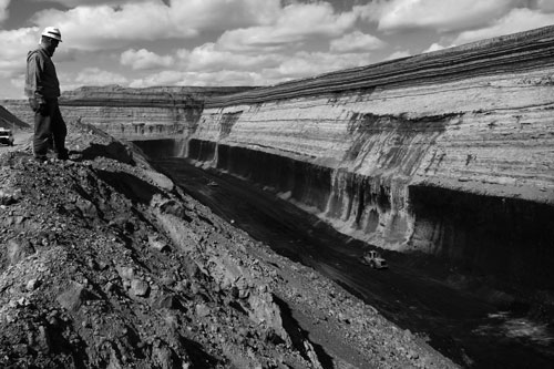 The mine's vast coal seam is 80 feet thick.