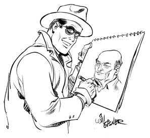 Eisner's most famous character, the Spirit, draws his creator.