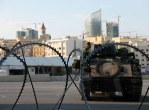 A military presence in central Beirut is a constant reminder of the city's precarious peace.