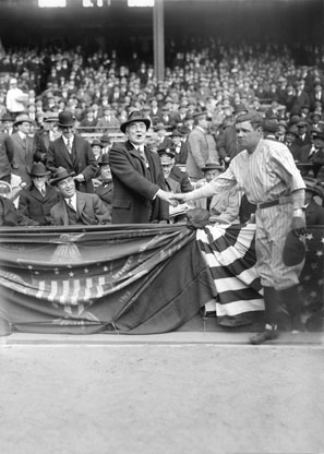 'Hell no, I'm a Democrat.' Babe Ruth shook hands with Warren G. Harding but declined to endorse him.