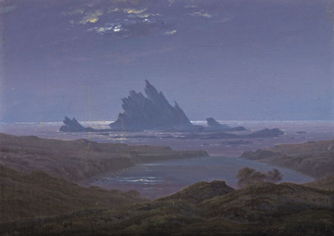 Friedrich's Rocky Reef on the Sea Shore evokes the largeness of time and space.