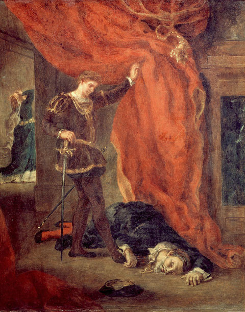 Delacroix depicts Hamlet standing over Polonius's corpse.