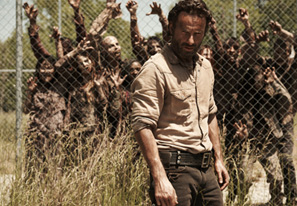 In the wildly popular AMC show, sheriff Rick Grimes (Andrew Lincoln) struggles to stay sane and decent in a world gone mad.