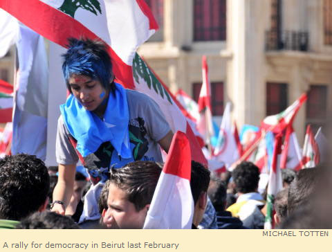 A rally for democracy in Beirut last February