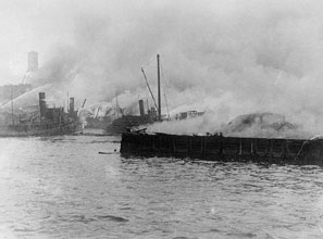 In 1916, German saboteurs destroyed Black Tom Island in New York Harbor.