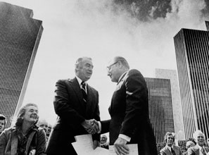 Big government stepped in to replace the upstate private economy that Governor Nelson Rockefeller (right, with his successor, Hugh Carey) taxed into oblivion.