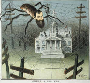 Speculator Jay Gould, depicted as weaving a web of corruption in this 1885 cartoon.