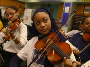 Aspiring musicians at the KIPP Academy in the South Bronx