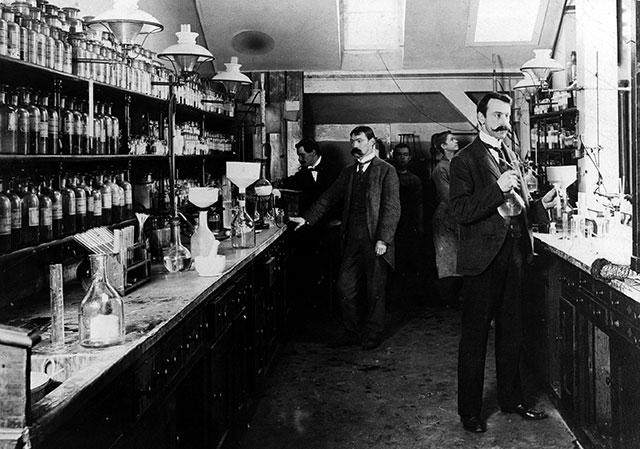 Driven by pharmaceutical giants like Germany's Bayer, pictured here circa 1900, Europe was once the center of drug development, but price controls and regulation have long since stifled innovation. (ULLSTEIN BILD / GRANGER — ALL RIGHTS RESERVED)