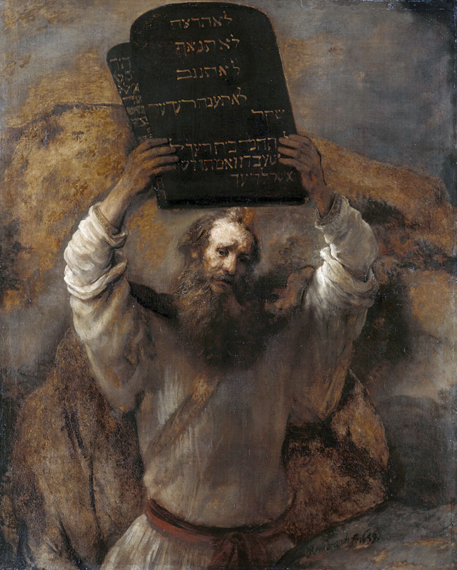 Rembrandt's 1659 rendering of Moses with the Ten Commandments (GRANGER / GRANGER — ALL RIGHTS RESERVED)