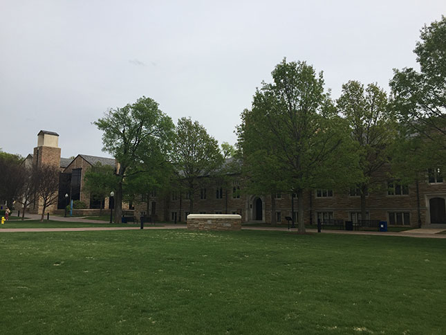 Sharp Chapel (left) and Tyrrell Hall (right), the oldest building on campus (Photos: Courtesy of author (3))