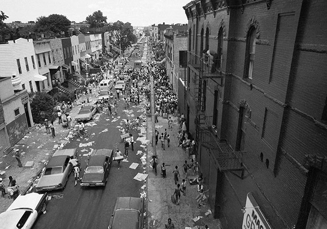 The widespread destruction in Bedford-Stuyvesant during New York City's 1977 blackout exemplified the social chaos of the era. (AP PHOTO)