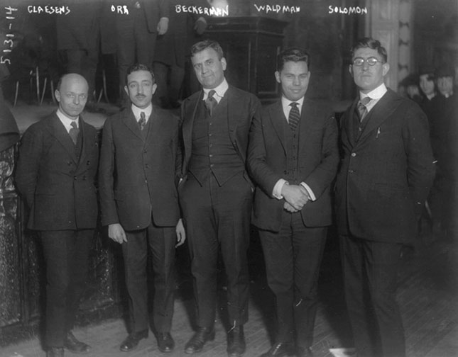 In 1920, the New York State Assembly voted to expel five socialist party members, shown above, from the legislature. (GEORGE GRANTHAM BAIN COLLECTION/LIBRARY OF CONGRESS)