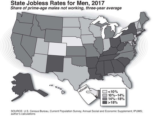 State Jobless Rates for Men, 2017 (Charts by Alberto Mena)