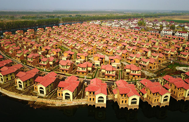 A villa complex in Xiongan, a new city that covers over 770 square miles, more than twice the size of New York City. (VISUAL CHINA GROUP/GETTY IMAGES)